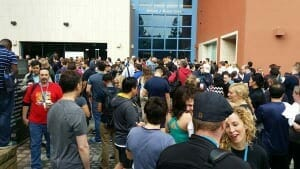 Picture of 1000 people exiting the building during the 2014 San Francisco WordCamp fire alarm.